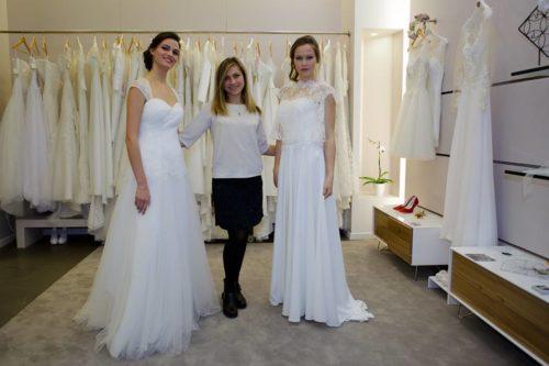Olga Boych, créatrice, présente ses robes de mariée